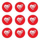 Cuori della linea rossa Fotografia Stock Libera da Diritti