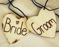 Cuori dello sposo e della sposa Immagine Stock