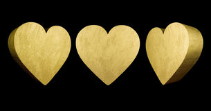 Cuori di amore dell'oro 3D Immagine Stock Libera da Diritti