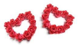 Cuori di amore delle rose Fotografia Stock