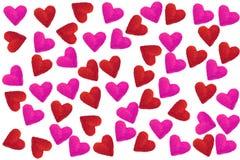 Cuori di amore nel rosa e nel rosso Immagini Stock Libere da Diritti