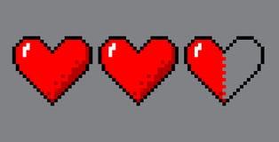 Cuori di arte del pixel per il gioco royalty illustrazione gratis