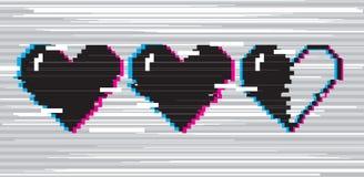 Cuori di arte del pixel per il gioco Fotografia Stock