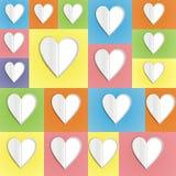 Cuori di carta sul fondo di colore Fotografia Stock