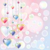 Cuori di colore e bolle di sapone luminosi royalty illustrazione gratis