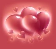 Cuori di giorno del biglietto di S. Valentino Immagini Stock Libere da Diritti