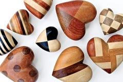 Cuori di legno Fotografie Stock