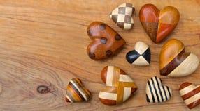 Cuori di legno Fotografie Stock Libere da Diritti