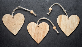 Cuori di legno Immagini Stock