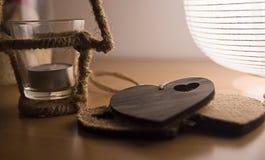Cuori di legno decorativi Fotografia Stock