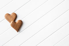 Cuori di legno fatti a mano Fotografia Stock