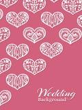 Cuori di pizzo bianchi sul rosa - fondo romanzesco di nozze illustrazione di stock