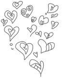 Cuori di scarabocchio del biglietto di S. Valentino messi Fotografie Stock