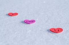 Cuori di Snowy Fotografia Stock