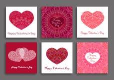 Cuori di Valentine Day Cards Set Different Immagine Stock