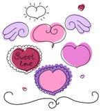 Cuori di vettore di giorno del biglietto di S. Valentino impostati Fotografie Stock Libere da Diritti