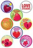 Cuori differenti dell'insieme variopinto di stikers di amore di vettore royalty illustrazione gratis
