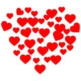 Cuori disegnati a mano Amore rosso del biglietto di S. Valentino del cuore per progettazione royalty illustrazione gratis