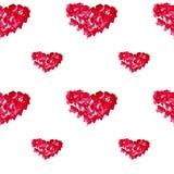Cuori disegnati a mano dell'acquerello del modello senza cuciture Ornamento romantico per il giorno di biglietti di S. Valentino Fotografia Stock