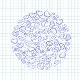 Cuori disegnati a mano dell'inchiostro su pezzo di carta del taccuino Illustrazione di giorno di biglietti di S. Valentino per un Immagine Stock Libera da Diritti