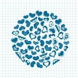 Cuori disegnati a mano dell'inchiostro su pezzo di carta del taccuino Illustrazione di giorno di biglietti di S. Valentino per un Immagini Stock