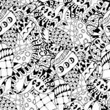 Cuori disegnati a mano dello zentangle per l'anti sforzo adulto Immagine Stock Libera da Diritti