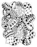Cuori disegnati a mano dello zentangle per l'anti sforzo adulto Immagine Stock