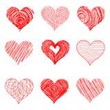 Cuori disegnati a mano di schizzo per progettazione di giorno di biglietti di S. Valentino Fotografia Stock