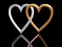 Cuori dorati del biglietto di S. Valentino che intersecano Fotografie Stock Libere da Diritti