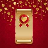 Cuori dorati su colore rosso Fotografia Stock Libera da Diritti
