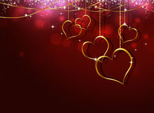 Cuori dorati Valentine Greeting Card Fotografia Stock