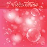 Cuori e bolle leggeri su rosso royalty illustrazione gratis