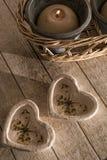 Cuori e candela Fotografia Stock Libera da Diritti