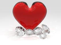 Cuori e diamanti Immagini Stock Libere da Diritti
