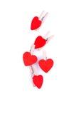 Cuori e fiori al biglietto di S. Valentino isolato su spirito bianco del fondo Immagine Stock
