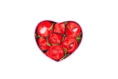Cuori e fiori al biglietto di S. Valentino su un fondo bianco isolato Immagine Stock Libera da Diritti