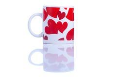 Cuori e fiori al biglietto di S. Valentino su un fondo bianco isolato Fotografie Stock Libere da Diritti