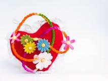 Cuori e fiori rossi Fotografie Stock