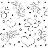 Cuori e modello senza cuciture dei fiori Immagini Stock