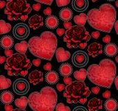 Cuori e modello senza cuciture delle rose Fotografie Stock Libere da Diritti
