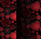 Cuori e modello senza cuciture delle rose Immagini Stock