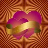 Cuori e nastro dei biglietti di S. Valentino illustrazione vettoriale