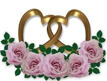 Cuori e rose dell'oro Fotografia Stock