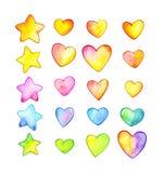 Cuori e stelle multicolori Cuori divertenti del fumetto Illustrazione dell'acquerello Immagini Stock Libere da Diritti