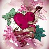 Cuori ed illustrazione di vettore dei fiori Fotografie Stock Libere da Diritti