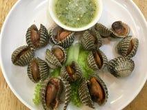 Cuori edule cotti a vapore del sangue con salsa piccante verde tailandese fotografia stock