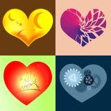 Cuori Elementi di progettazione per il giorno del ` s del biglietto di S. Valentino Immagine Stock