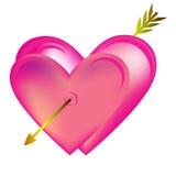 Cuori ENV 10 di giorno del ` s del biglietto di S. Valentino Immagine Stock
