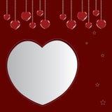 Cuori felici del biglietto di S. Valentino su rosso Fotografie Stock