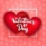Cuori felici di giorno di biglietti di S. Valentino due Fotografia Stock Libera da Diritti